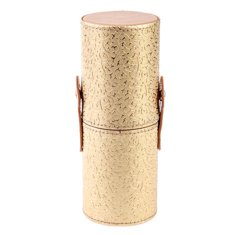 Tub depozitare pensule, 18 cm x 7 cm, model floral, Auriu 2021 shopu.ro
