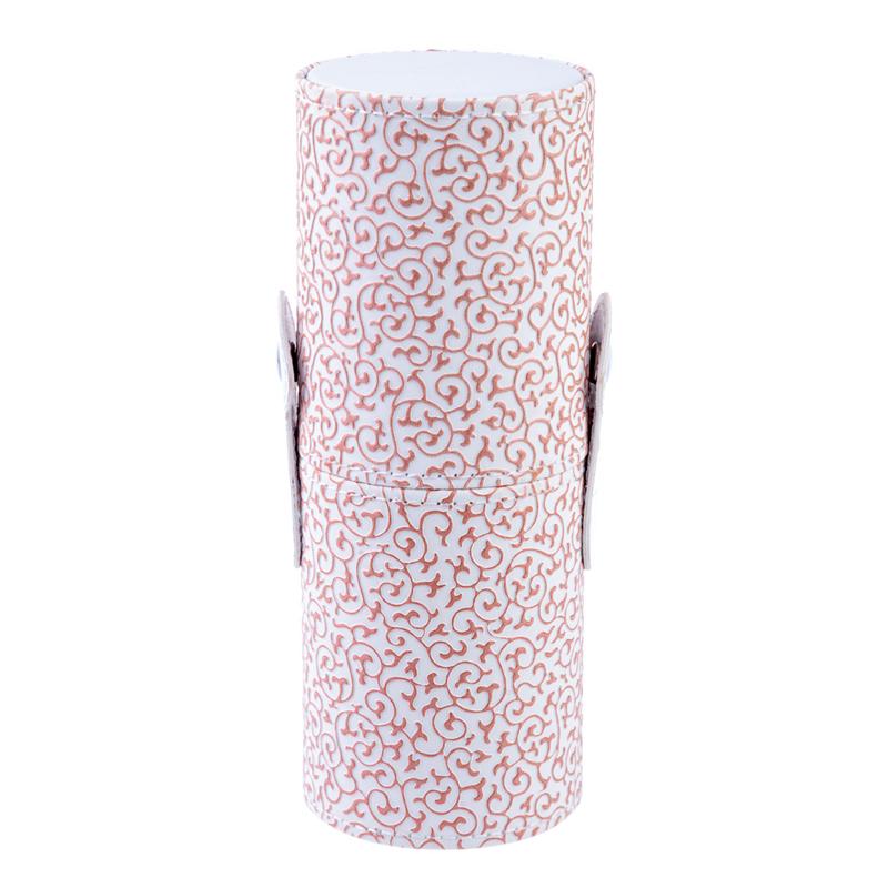 Tub depozitare pensule, 18 cm x 7 cm, model floral, Rosu/Alb 2021 shopu.ro