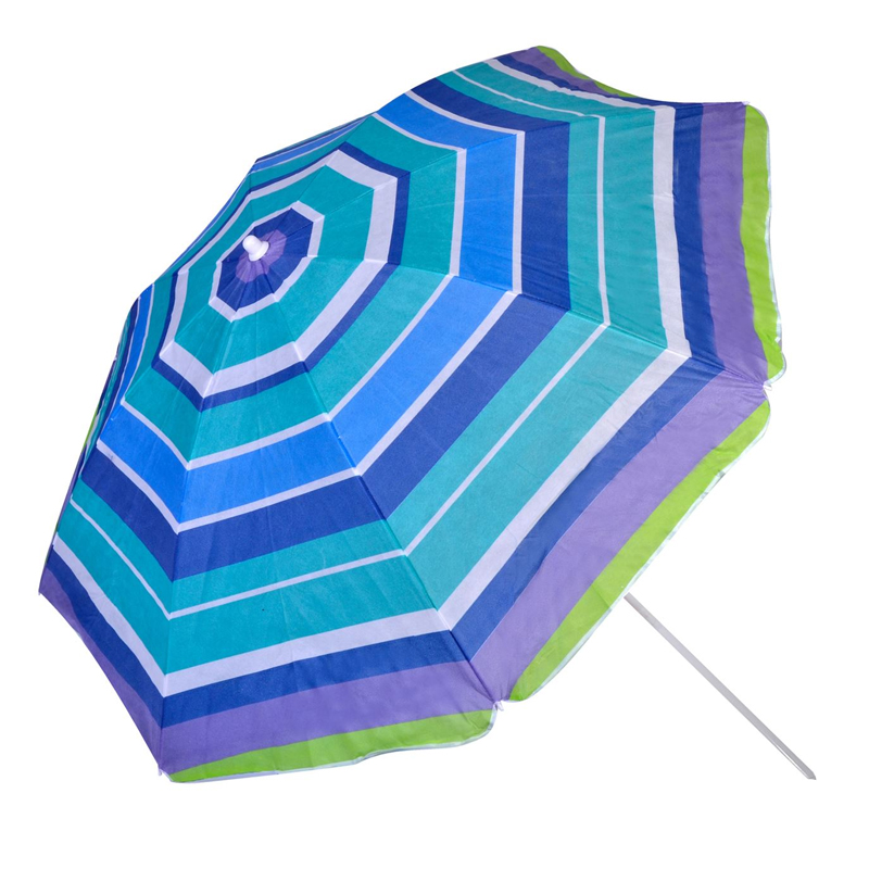 Umbrela pentru plaja, 180 cm, model dungi, Albastru 2021 shopu.ro