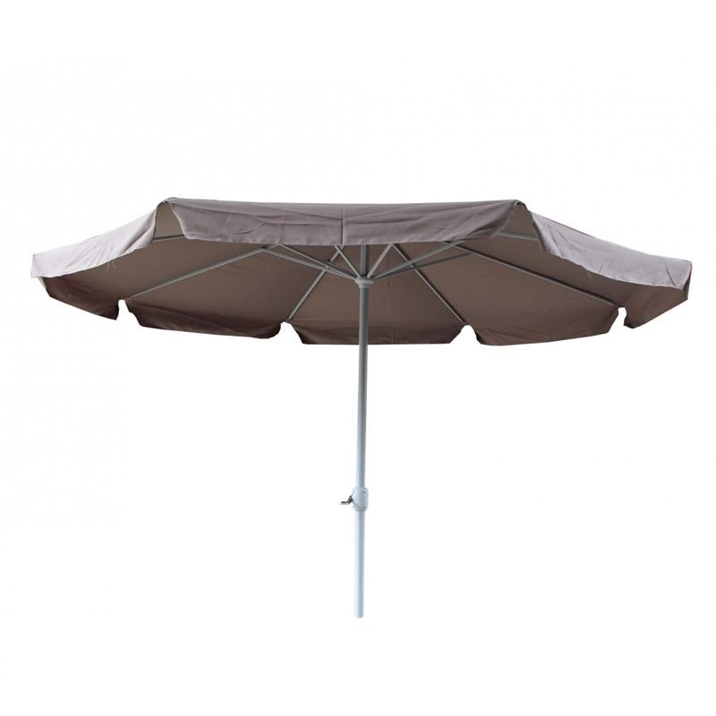 Umbrela pentru terasa Nfau, rotunda, structura metal, 350 x 250 cm, crem shopu.ro