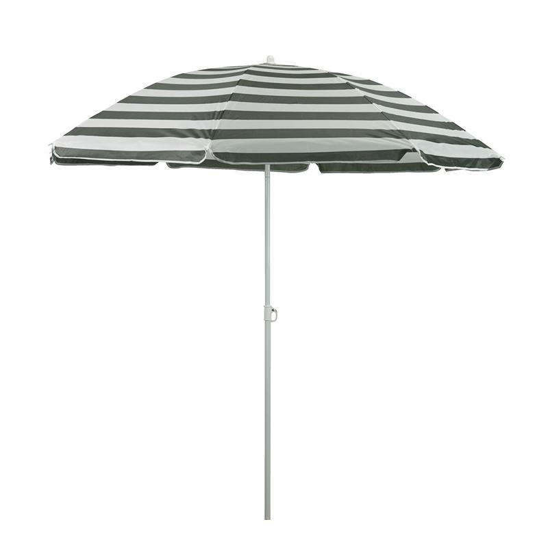 Umbrela de soare, 180 cm, poliester, picior otel, inaltime reglabila, Verde/Alb shopu.ro