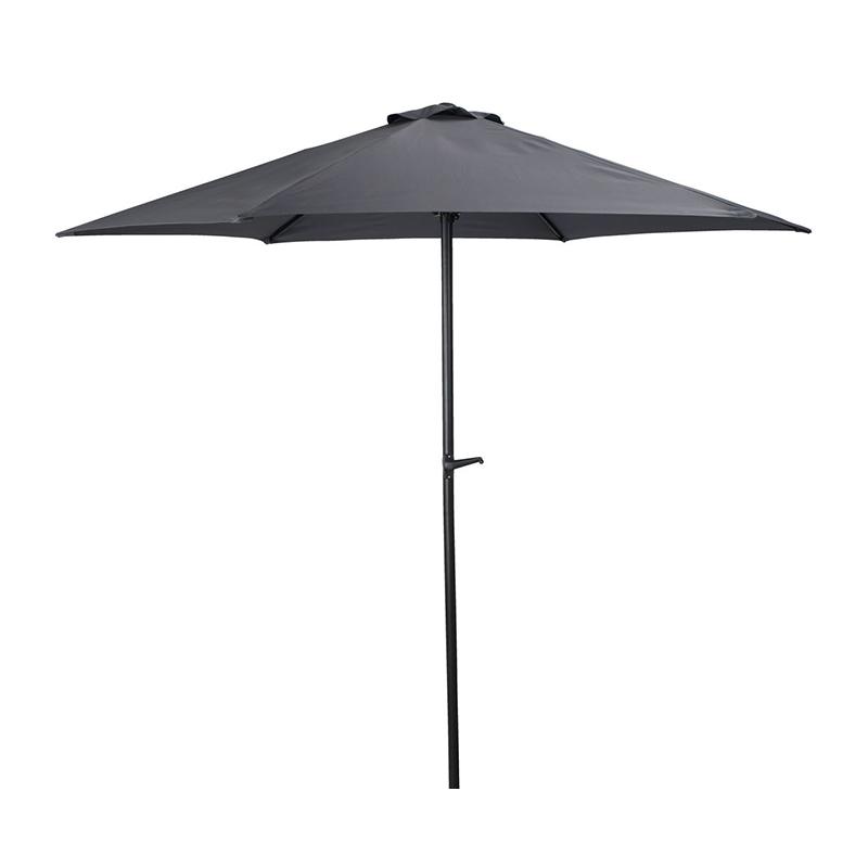 Umbrela de soare, 250 cm, poliester, picior otel, maner de reglare, Negru/Gri shopu.ro