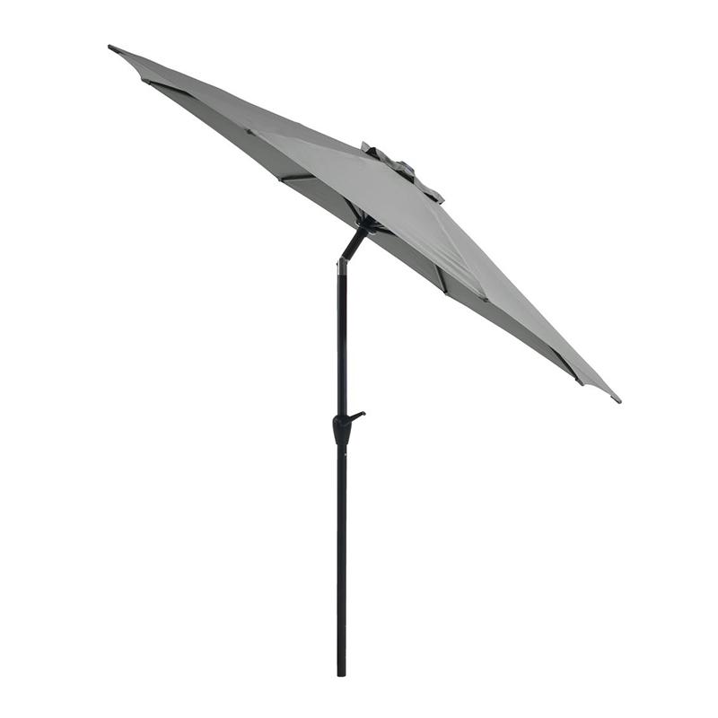 Umbrela de soare, 300 cm, poliester, picior aluminiu, functie de inclinare, Negru/Verde masliniu 2021 shopu.ro