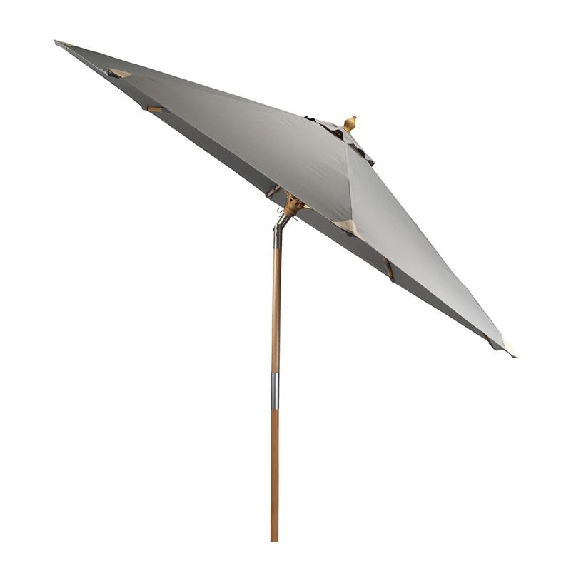 Umbrela de soare, 300 cm, poliester, picior lemn, functie de inclinare, Gri/Bej shopu.ro