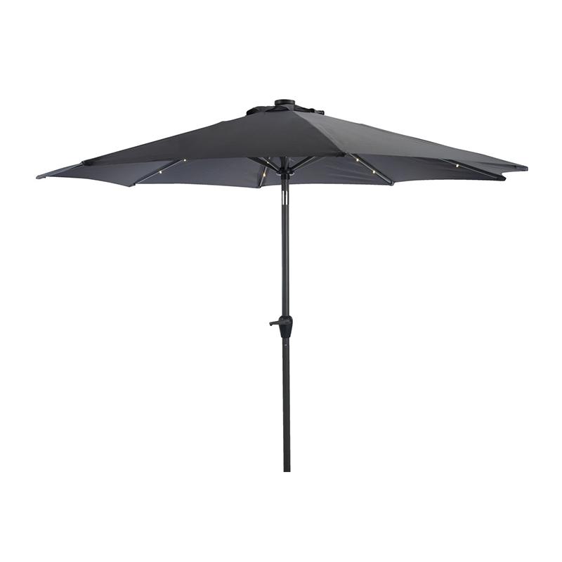 Umbrela de soare cu LED, 300 cm, poliester, picior aluminiu, functie de inclinare, Gri shopu.ro
