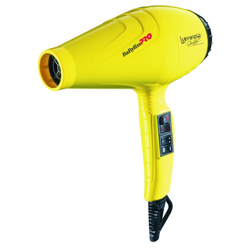Uscator de par Luminoso Babyliss Pro, 2100 W, 6 trepte, functie ionica, 2 duze incluse, Galben 2021 shopu.ro