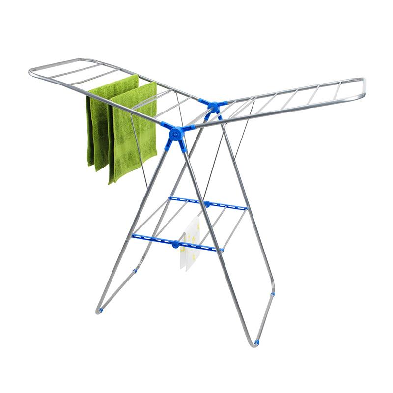 Uscator de rufe, 60 x 137 x 92 cm, metal/plastic, Argintiu/Albastru shopu.ro