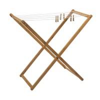 Uscator de rufe, 50 x 95 x 90 cm, bambus/nailon, Maro
