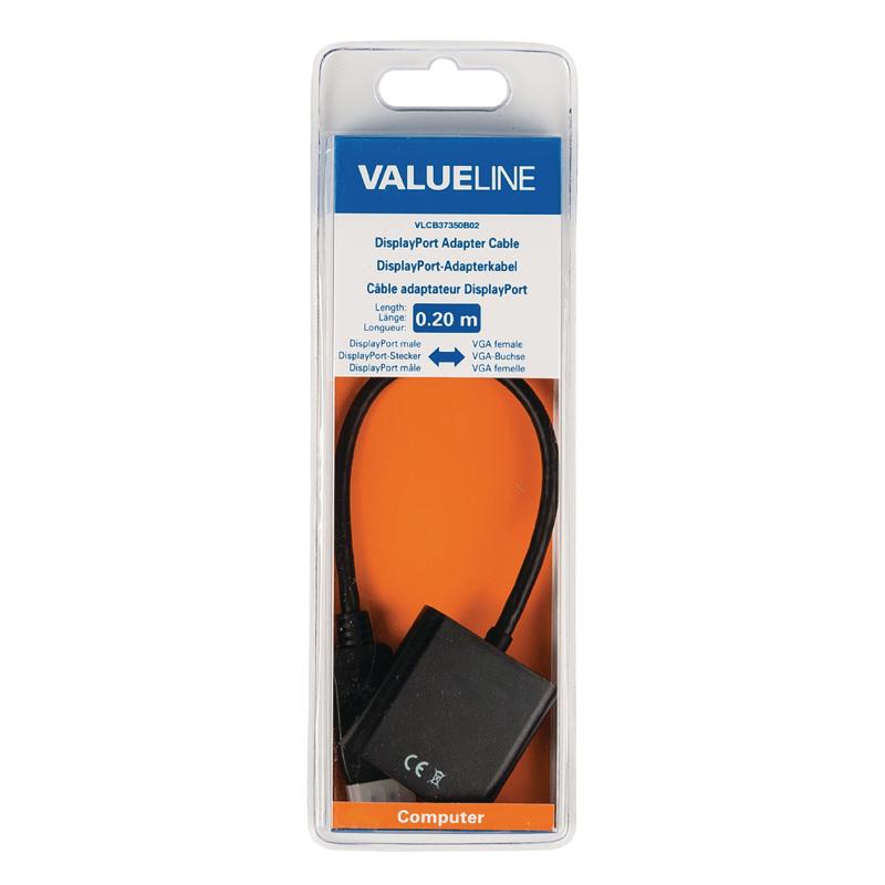 Adaptor DisplayPort-VGA Valueline, 20 cm, Negru