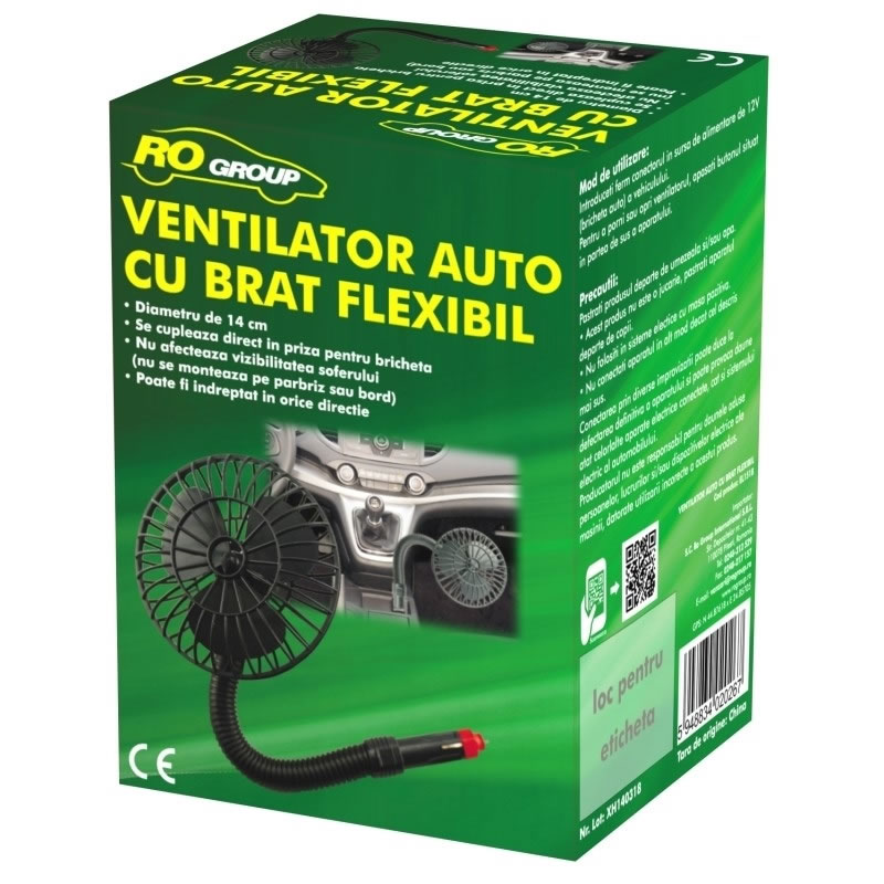 Ventilator auto cu brat flexibil RoGroup, 12V
