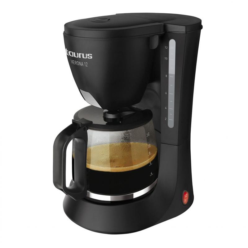 Filtru de cafea Verona 12 Taurus, 12 cesti, 680 W, plita electrica, LED, Negru 2021 shopu.ro