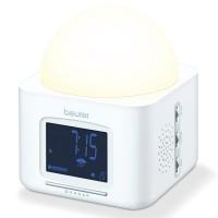 Ceas desteptator cu lampa Beurer, LCD, 4 sunete natura