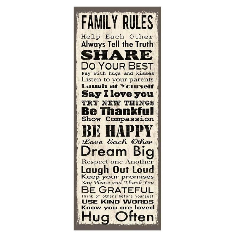 Sticker decorativ Regulamentul Familiei, 79 x 30.5 cm 2021 shopu.ro