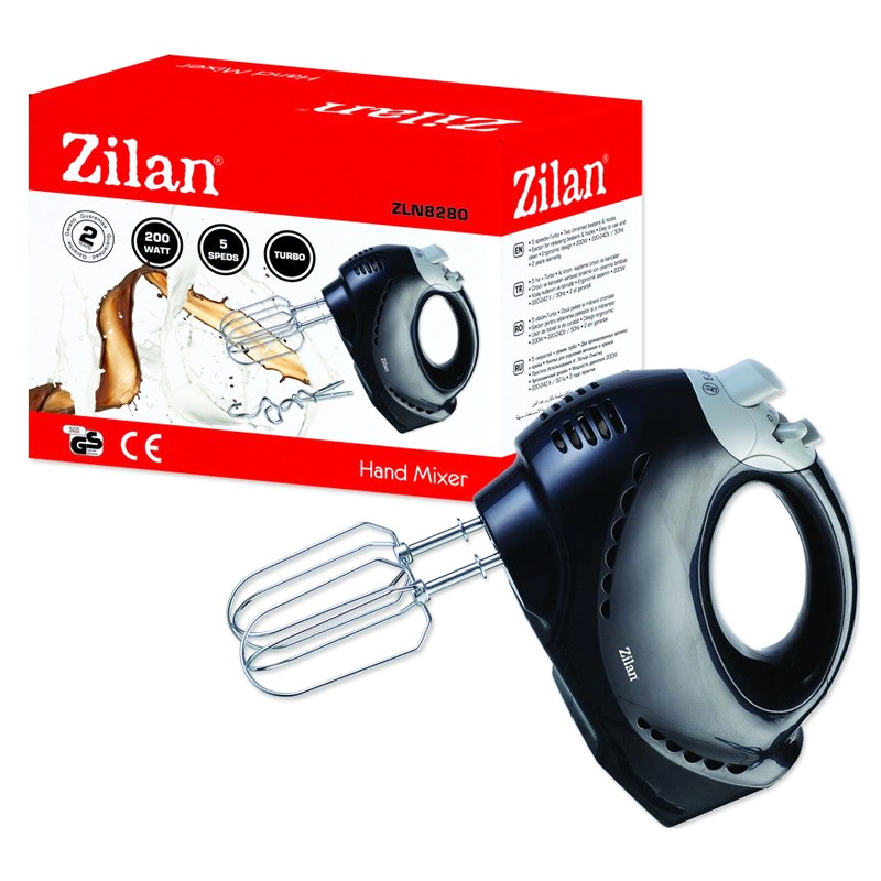 Mixer de mana Zilan, 5 viteze, 200 W, Turbo