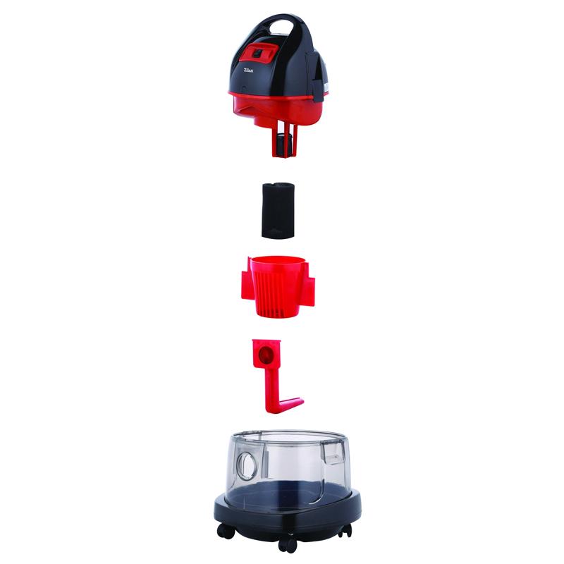 Aspirator cu filtrare umeda/uscata Zilan, 1400 W, Rosu