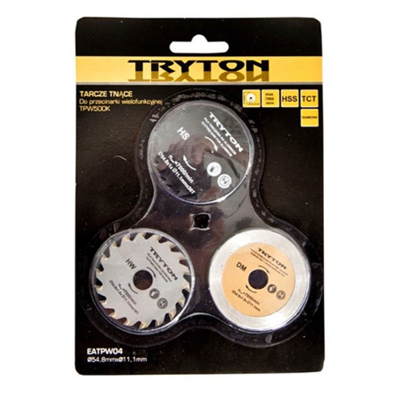 Set discuri diamantat/metal/lemn Tryton, accesorii TPW500K, 54 mm, 3 piese/set