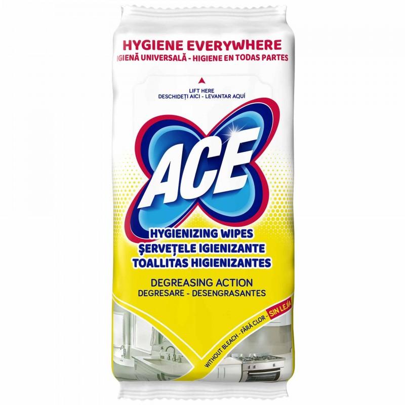 Servetele igienizante Ace, 40 bucati, actiune degresanta, aroma lamaie shopu.ro
