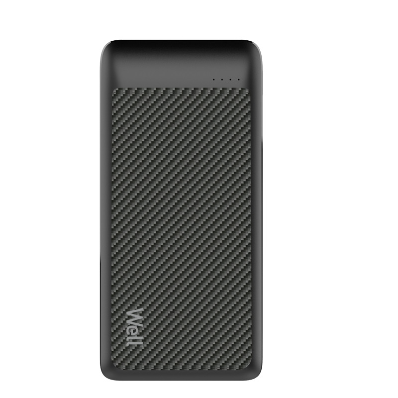 Acumulator extern powerbank Well, 20000 mAh, 2.1 A, negru imagine