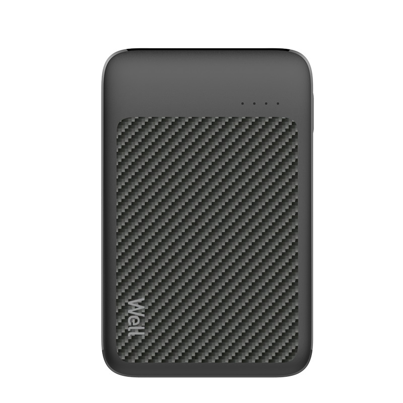 Acumulator extern powerbank Well, 5000 mAh, 2.1 A, negru imagine