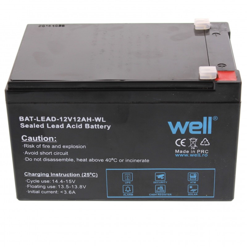Acumulator plumb acid Well, 12 V, 12 Ah, borna lata T2 2021 shopu.ro
