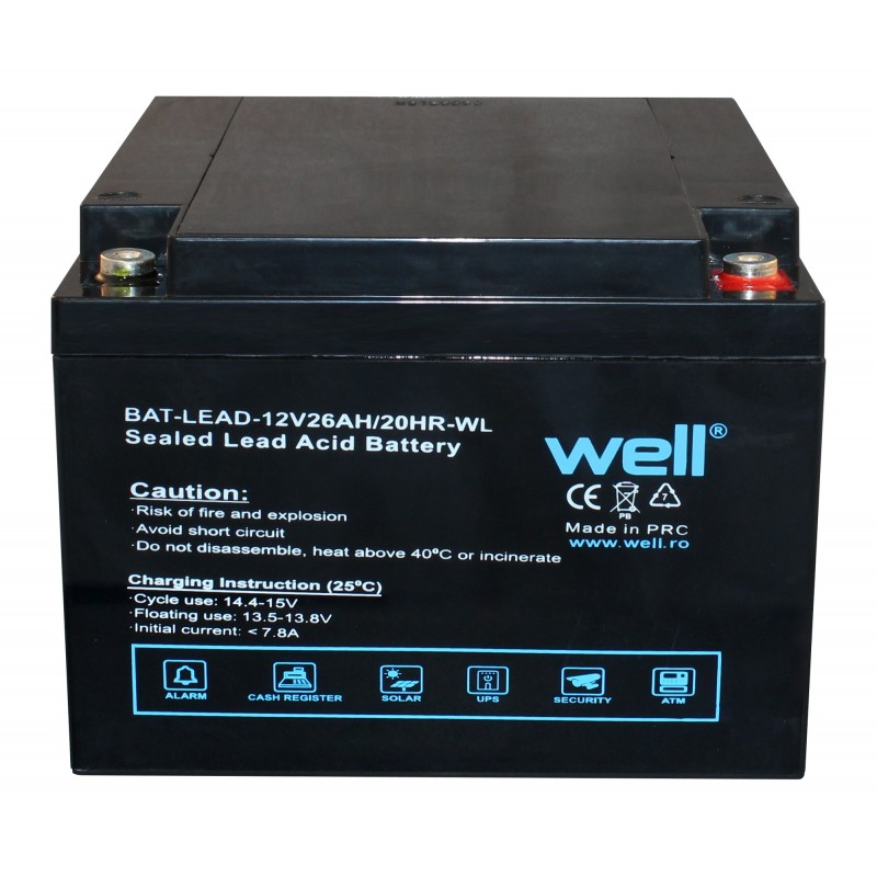 Acumulator plumb acid Well, 12V, 26 Ah 2021 shopu.ro