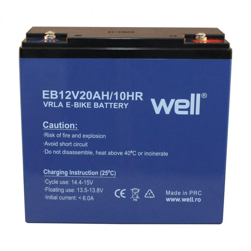 Acumulator plumb acid pentru biciclete electrice Well, 12 V, 20 Ah 2021 shopu.ro