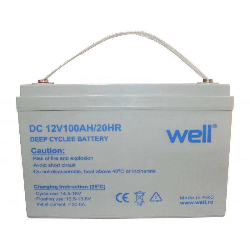 Acumulator Well, plumb acid deep cycle, 12V, 100 Ah 2021 shopu.ro