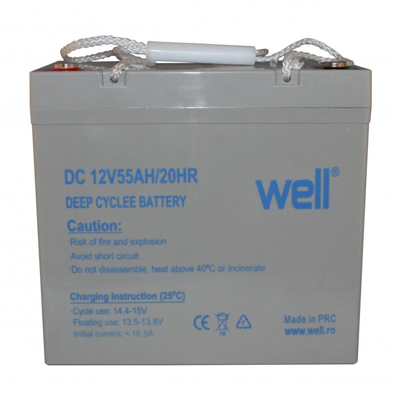 Acumulator plumb acid deep cycle Well, 12 V, 55 Ah 2021 shopu.ro