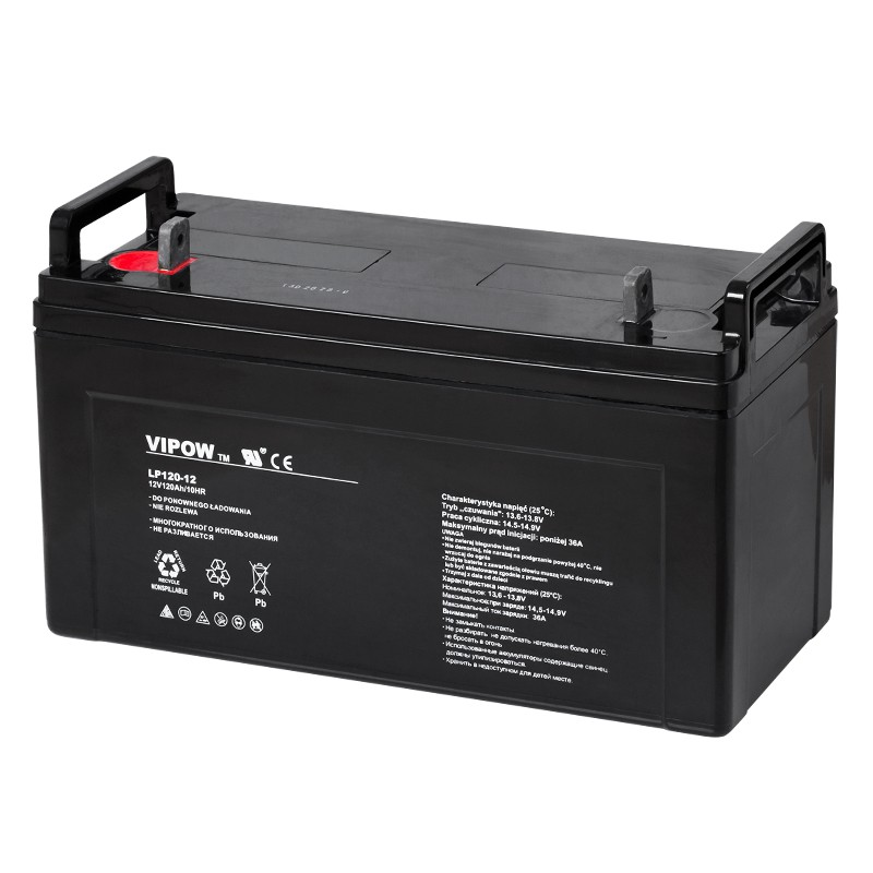 Acumulator Vipow, 12 V, 120Ah, 404 x 171 x 238 mm, Negru 2021 shopu.ro