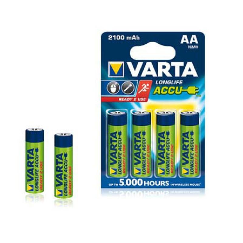 Acumulatori Ni-MH VARTA Longlife Accu, marime AA (LR06), 2100 mAh, 4 bucati 2021 shopu.ro
