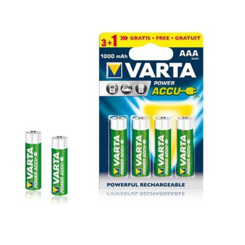 Acumulatori Ni-MH Varta Power Accu, AAA (LR03), 1000 mAh, 4 bucati 2021 shopu.ro