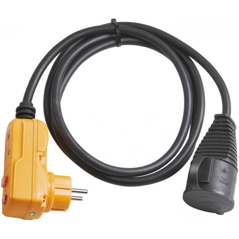 Adaptor cu protectie Brennenstuhl, 30 mA, IP44, 2 m, indicator test, Negru shopu.ro