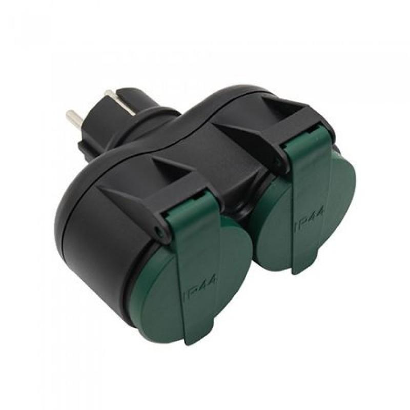 Adaptor de exterior, 2 prize, 16 A, protectie IP44 2021 shopu.ro