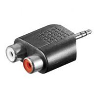 Adaptor audio Goobay, jack stereo 3.5 mm tata, 2 x RCA mama, Negru