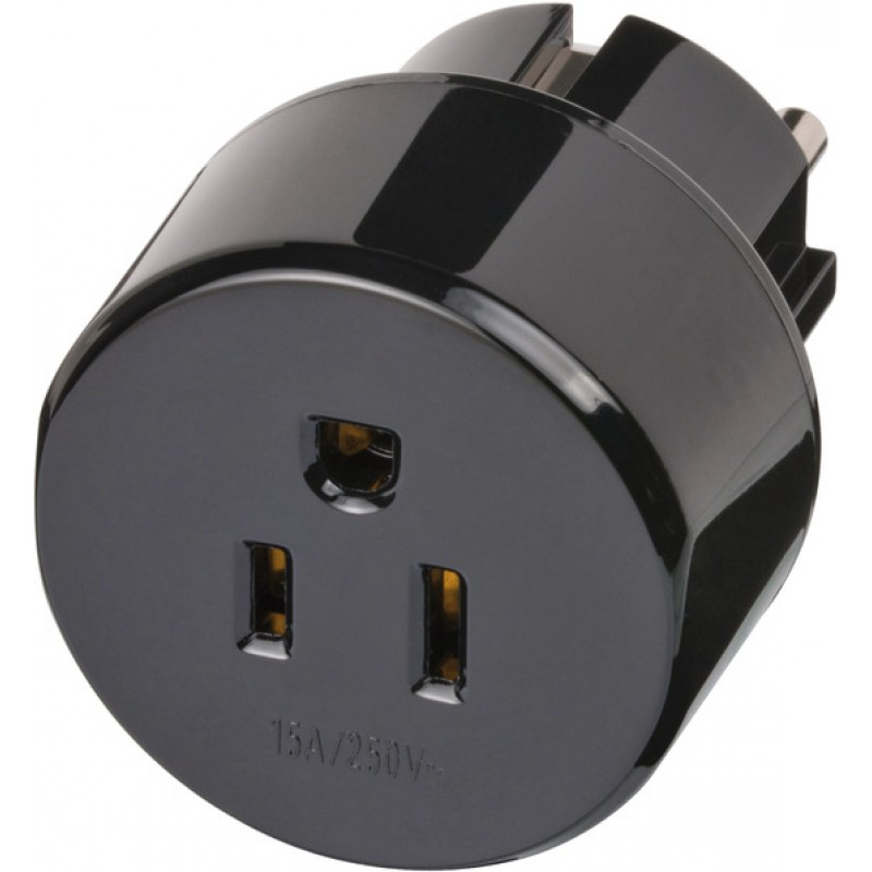 Adaptor pentru priza Brennenstuhl, 15 A, 250 V, compatibilitate US/Japan/Europe, Negru 2021 shopu.ro