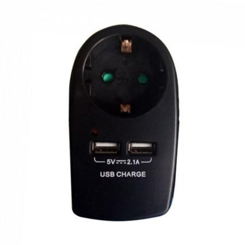 Priza tip adaptor, 16 A, 3680 W, 2 x USB 2.1 A, Negru 2021 shopu.ro