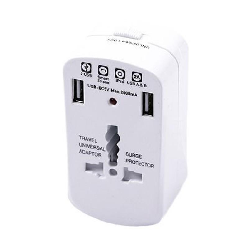 Adaptor universal pentru priza UK/US/EU, 2 x USB 2.1 A, Alb 2021 shopu.ro