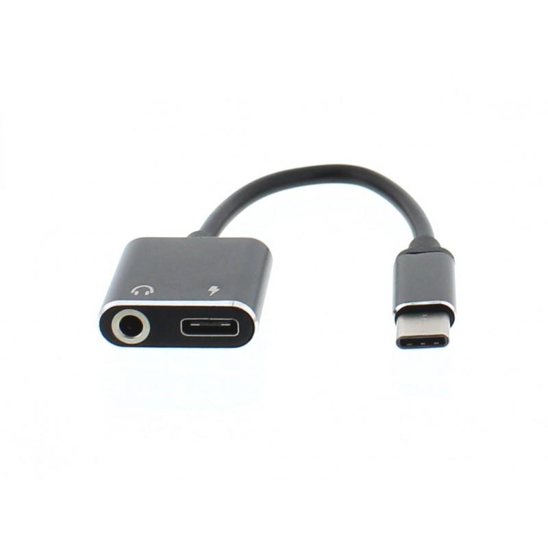 Adaptor Well, USB-C tata, jack 3.5 mm mama, USB-C mama, 7 cm, Negru 2021 shopu.ro