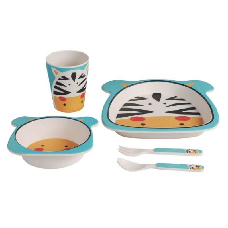 Set mic dejun bambus Adora, 14 x 3.5 cm, model zebra