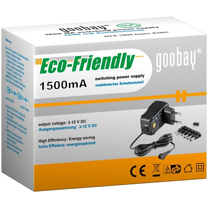 Alimentator curent continuu Goobay, 3 V - 12 V, 1500 mA, 6 conectori 2021 shopu.ro