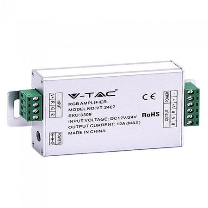 Amplificator banda LED RGB, 144 W, IP20, 12/24 V, 12 A