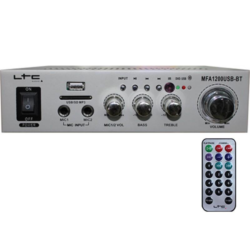 Amplificator karaoke, USB, SD, Bluetooth, telecomanda, 2 x 20 W, Argintiu 2021 shopu.ro