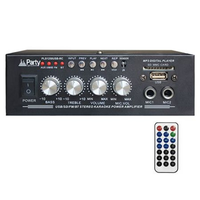 Amplificator Party pentru Karaoke, 2 x 25 W, Bluetooth, telecomanda 2021 shopu.ro