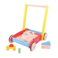 Antemergator pentru bebelusi BigJigs, 37 cuburi din lemn pentru construit