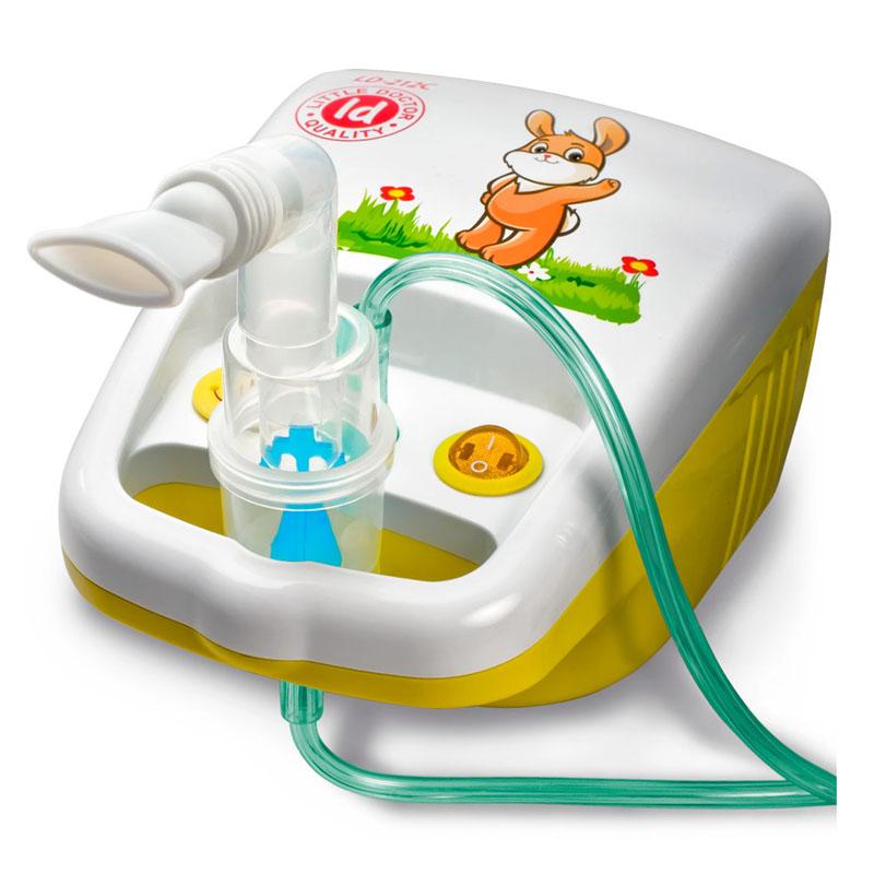 Aparat aerosoli cu compresor Little Doctor, 10 ml, 3 dispensere, accesorii incluse, Alb/Galben 2021 shopu.ro