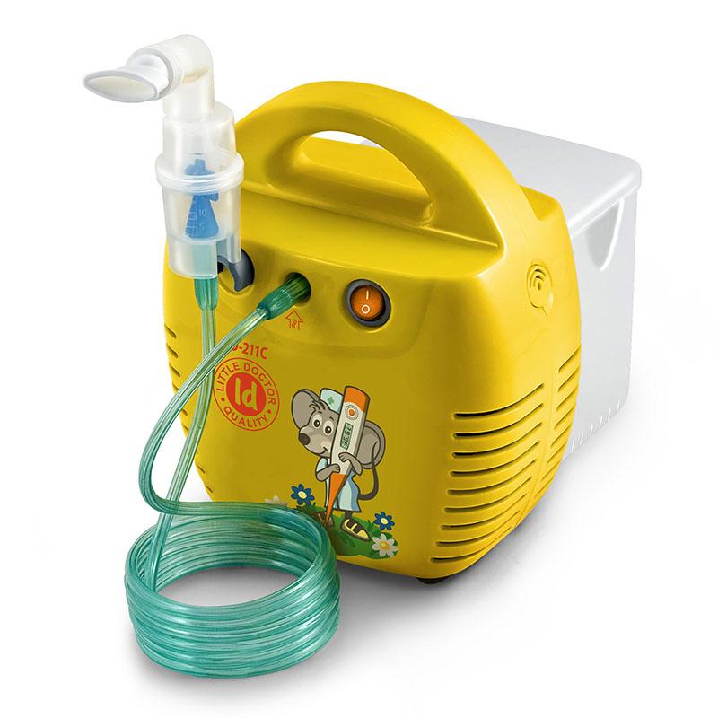 Aparat aerosoli cu compresor Little Doctor, 10 ml, 3 dispensere, 3 masti, accesorii incluse, cutie detasabila, Galben 2021 shopu.ro