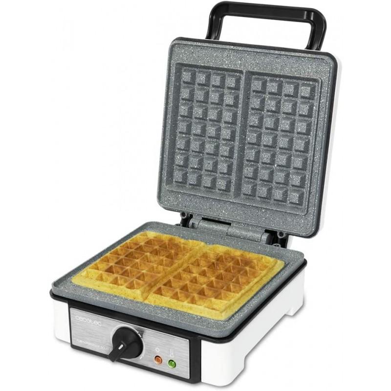 Aparat vafe / gofre Cecotec Fun Gofrestone Double, 1200W, termostat ajustabil, invelis antiaderent, oprire automata, indicator luminos, Alb 2021 shopu.ro