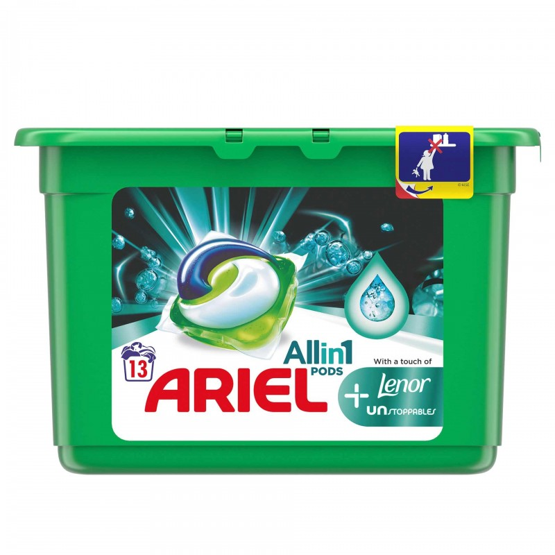 Detergent de rufe Ariel All in 1 Pods Lenor Unstoppables, 13 x 30 ml 2021 shopu.ro
