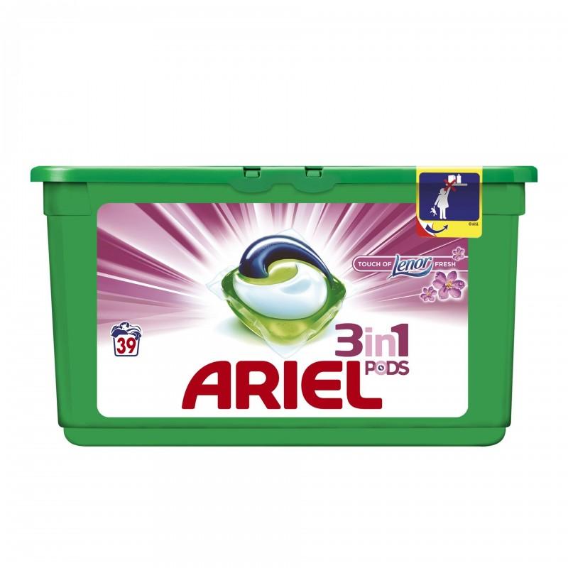 Detergent de rufe Ariel gel capsule Pods Touch of Lenor, 39 capsule x 29 ml 2021 shopu.ro