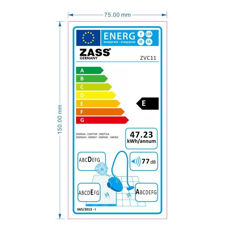 Aspirator Zass ZVC 11, 1400W, 2.2 L, Clasa E